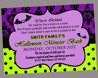 Halloween Party Invitation Printable or Printed with FREE SHIPPING - ANY Wording- Pretty Batty