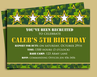 Camouflage Birthday Invitation Printable or Printed with FREE SHIPPING - Camo Collection