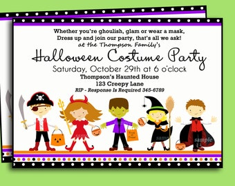 Halloween Kids Costume Party Invitation Printable or Printed with FREE SHIPPING - You pick Hair Color/ Skin Tone