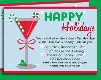 Christmas Cocktail Party Invitation Printable - Holiday Delight