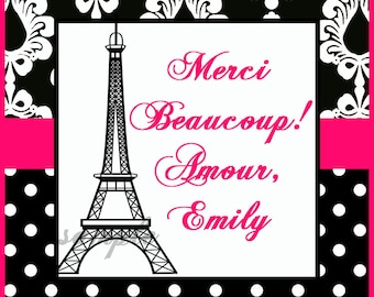 Personalized Printable Paris Favor Tags, Eiffel Tower Tags, Cupcake Topper - Parisian Chic Collection