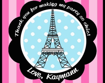 Eiffel Tower Favor Tags Printable - French Poodle Ooh La La Collection - Personalized Tags