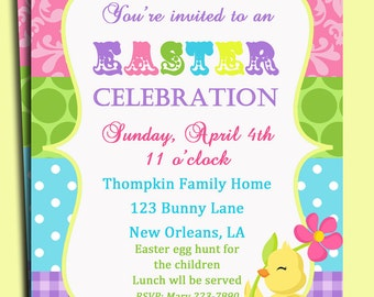 Easter Invitation Printable or Printed with FREE SHIPPING - Whimsical Chic(k)