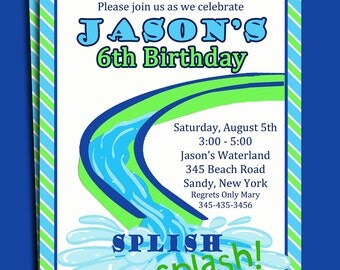 Water Slide Pool Party Invitation Printable or Printed with FREE SHIPPING