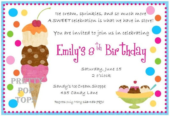 Ice Cream Birthday Party Printable DIY Digital Invitation