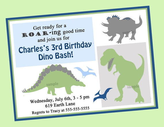 Dinosaur Birthday Invitation Printable or Printed with FREE – Printed Birthday Invitations