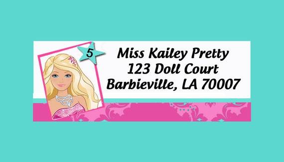 Barbie Girl Return Address Labels Printable