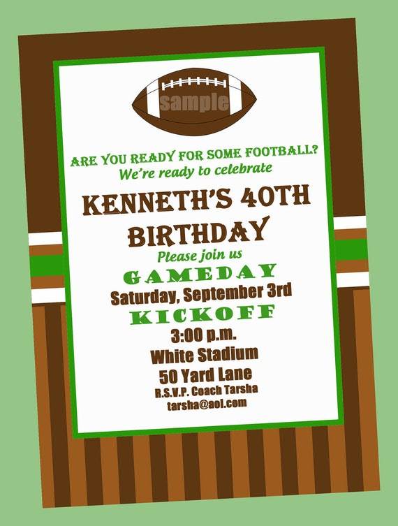 football birthday party invitation printable or printed with by, Birthday invitations
