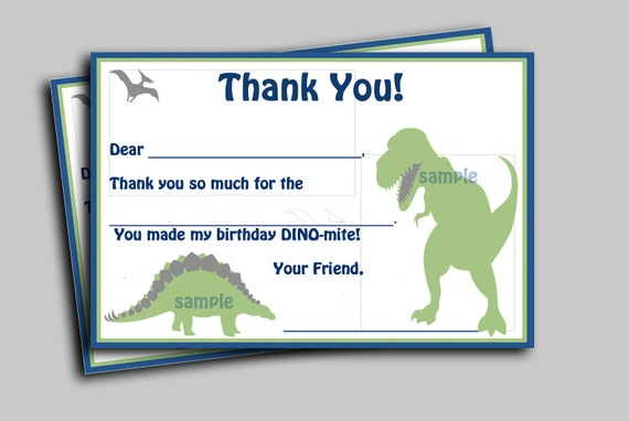 Automatic Download - Dinosaur Thank You Note - Printable