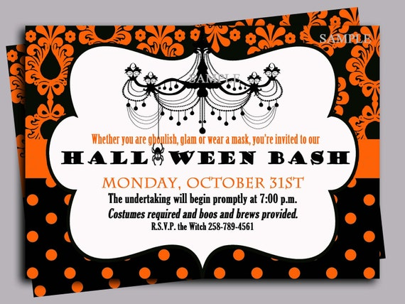 halloween invitation printable or printed with free shipping any