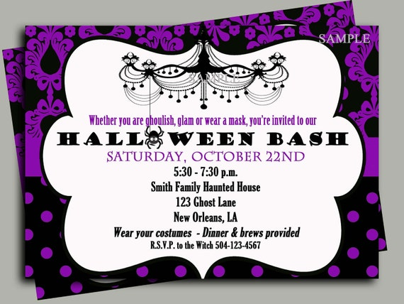 Halloween Invitation Printable or Printed with FREE SHIPPING- ANY Wording - Glam Halloween Party Collection