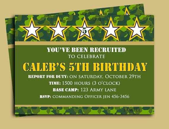 camouflage birthday invitation printable or printed with free, Birthday invitations