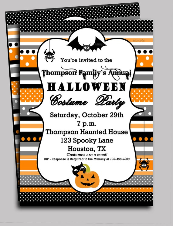 Halloween Invitation Printable or Printed with FREE SHIPPING - ANY Wording- Ribbon Chic Halloween Party