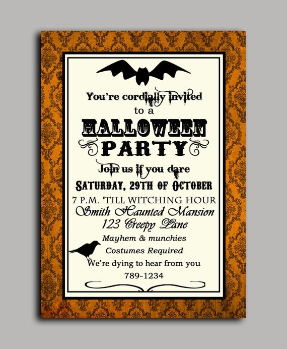 Halloween Invitation Printable or Printed with FREE SHIPPING- ANY Wording - Vintage Inspired Halloween