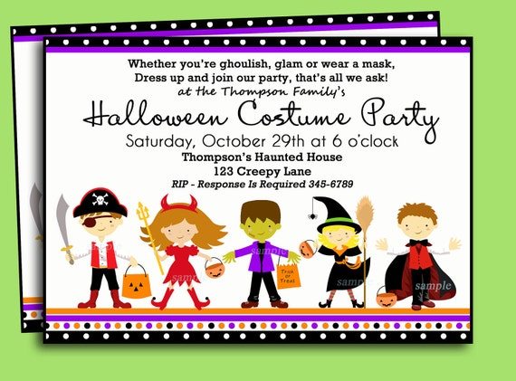 Halloween Kids Costume Party Invitation Printable or Printed – Costume Party Invitations Free Printable