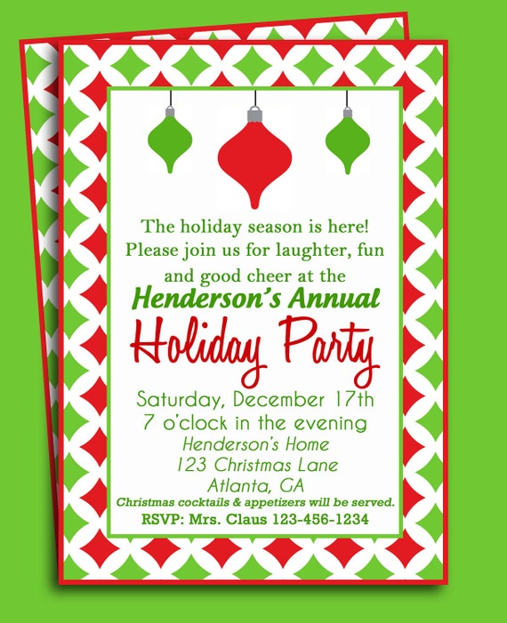 Christmas Party Invites: Items Similar To Christmas Party Invitation Printable Or