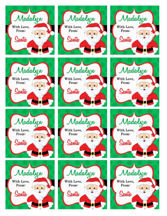 Personalized christmas gift tags printable or printed with personalized christmas gift tags printable or printed with free shipping from santa or from your family negle Gallery