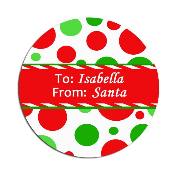 Printable Personalized Christmas Gift Tags, Address Labels - Polka Dot ...