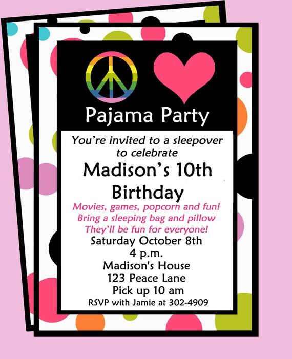 sleepover invitations printable free