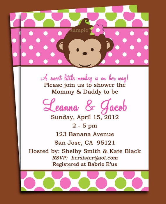 monkey girl invitation printable or printed with free shipping monkey