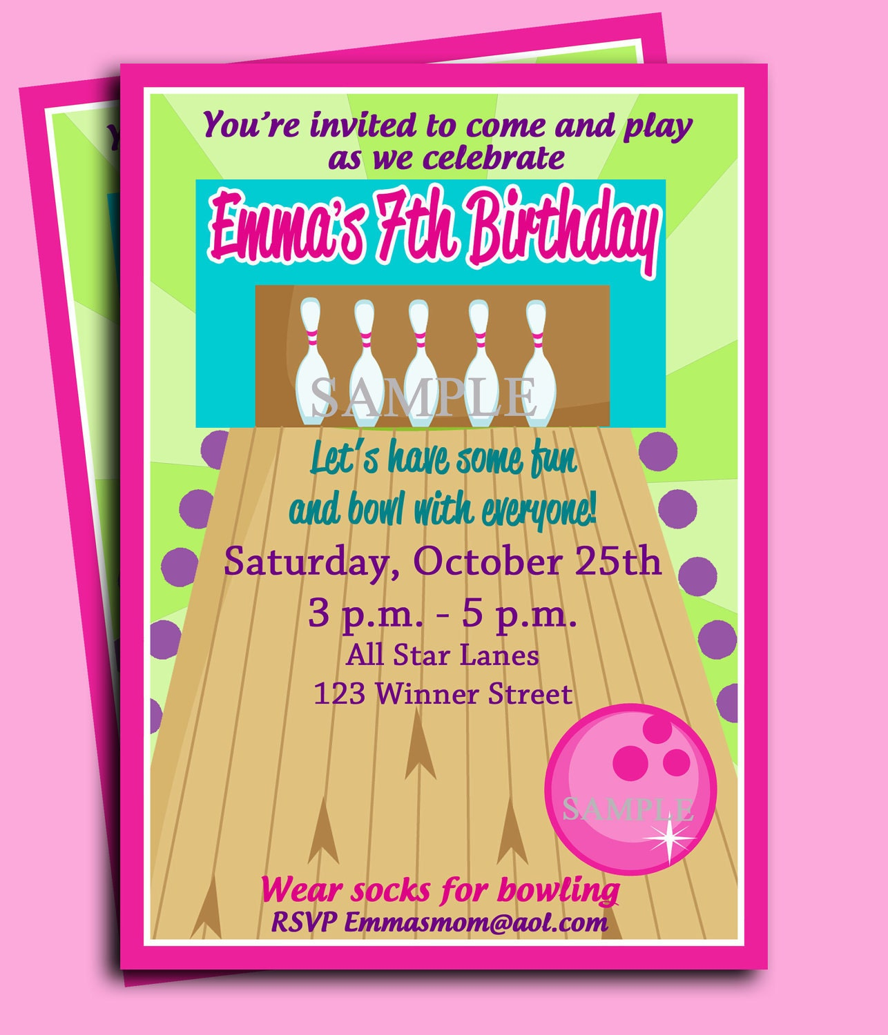 bowling party birthday invitation printable or printed with