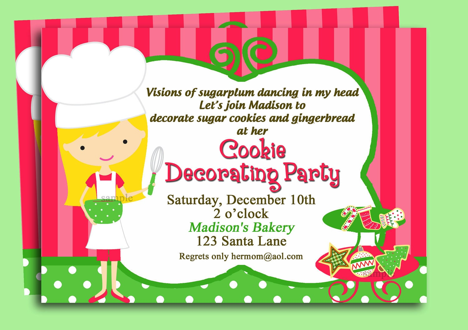 cookie swap christmas cookie invitation printable or printed shipping cookie swap cookie decorating you pick skin tone hair color style