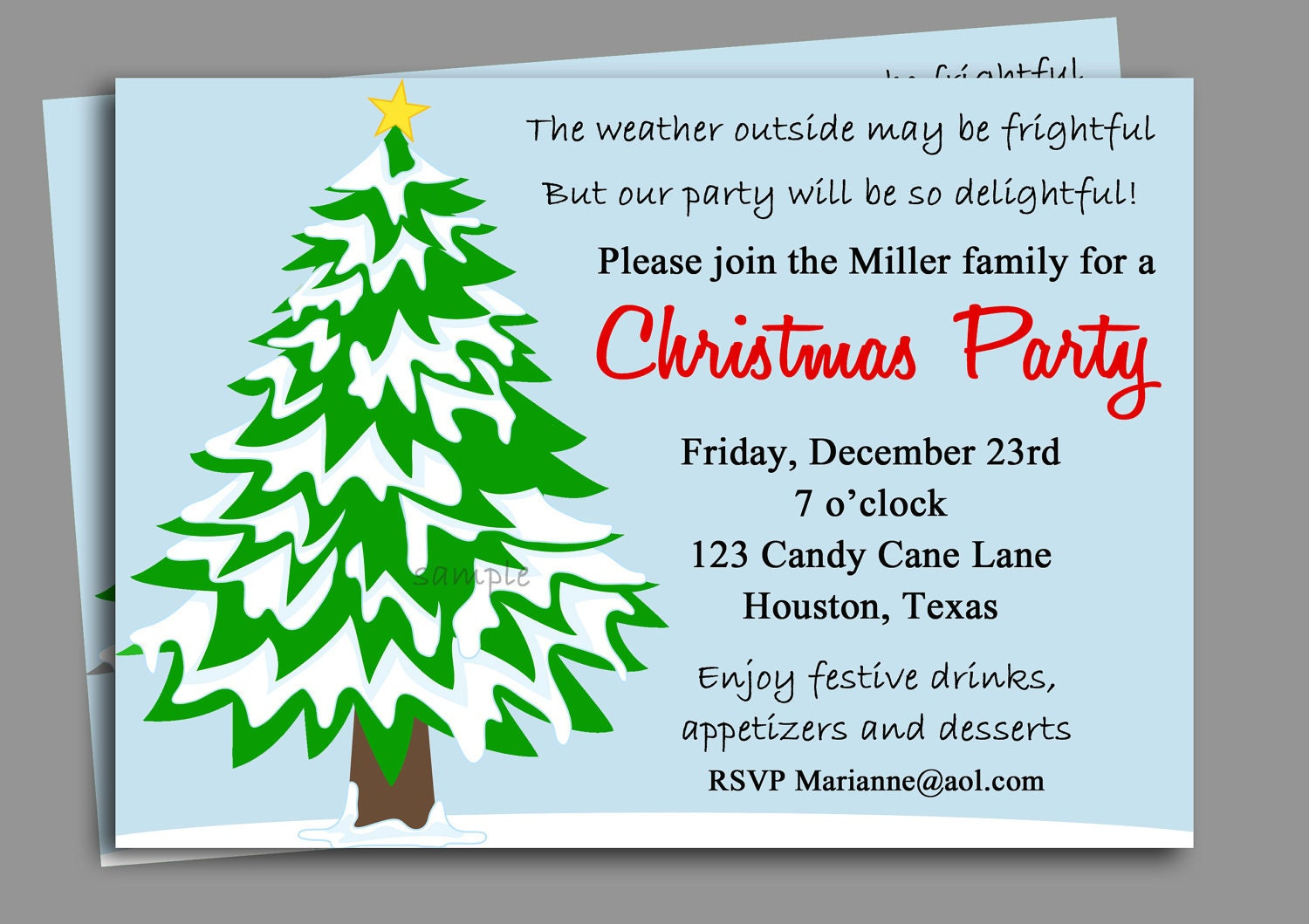 Christmas Party Invitation Printable Winter Wonderland – Invitation to a Christmas Party