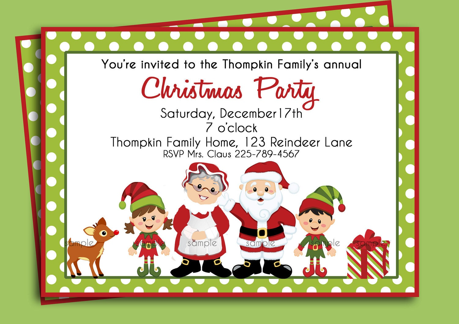 Christmas Party Invitation Printable or Printed with FREE – Invitations to Christmas Party