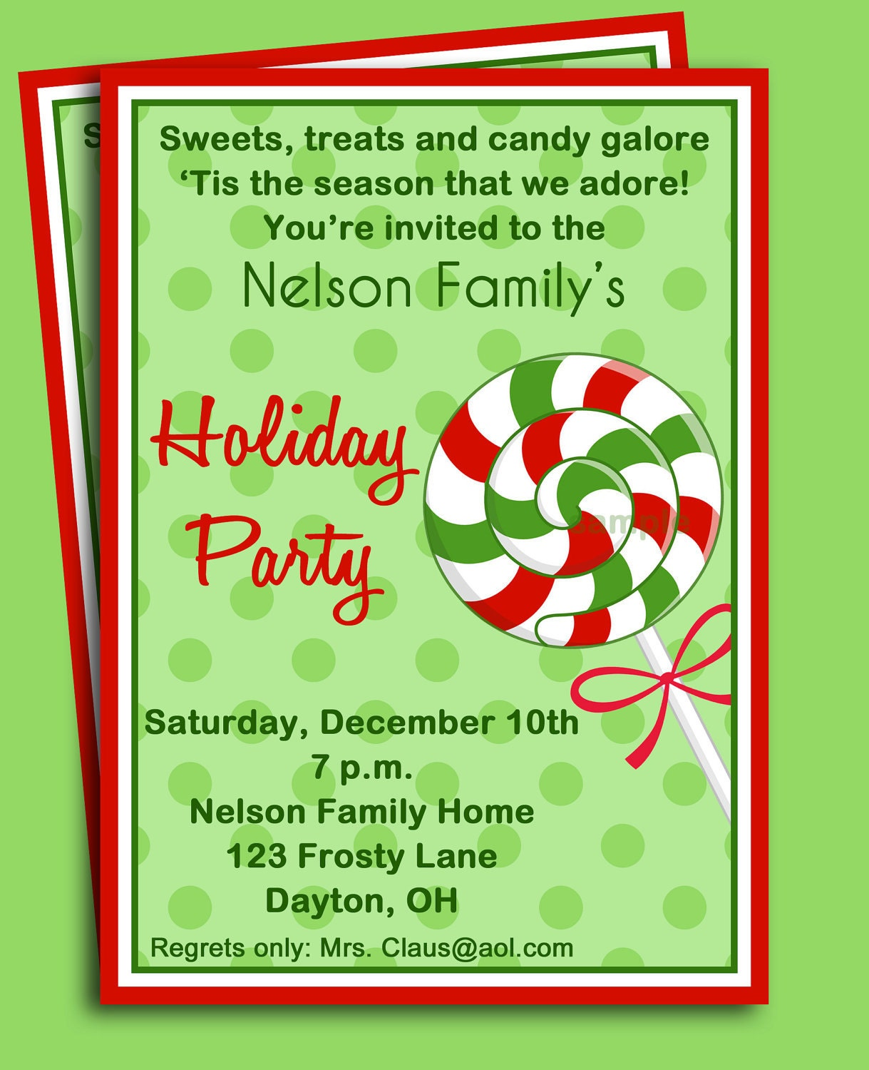 Christmas Party Invitation Quotes: Christmas Candy Invitation Printable Sweet Treat Christmas