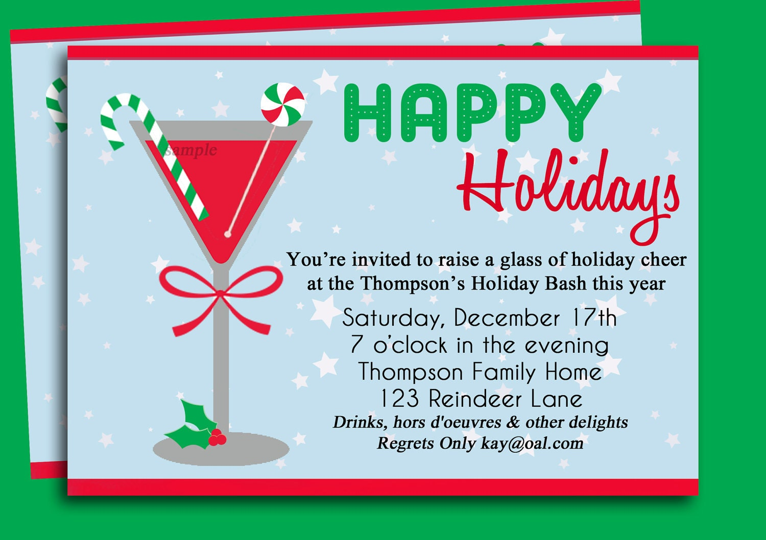 Christmas Cocktail Party Invitation Printable Holiday – Invitation to a Christmas Party