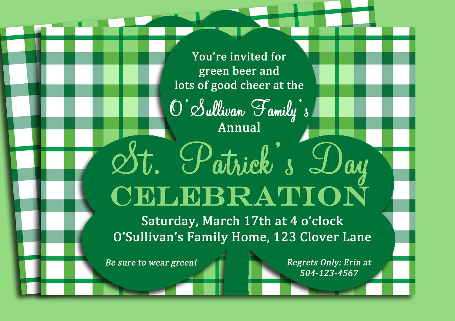 St. Patrick\'s Day Invitation Printable or printed with