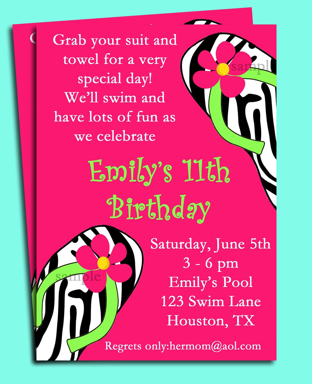 Pool Party Invitation Spa Party Invitation Swim Party