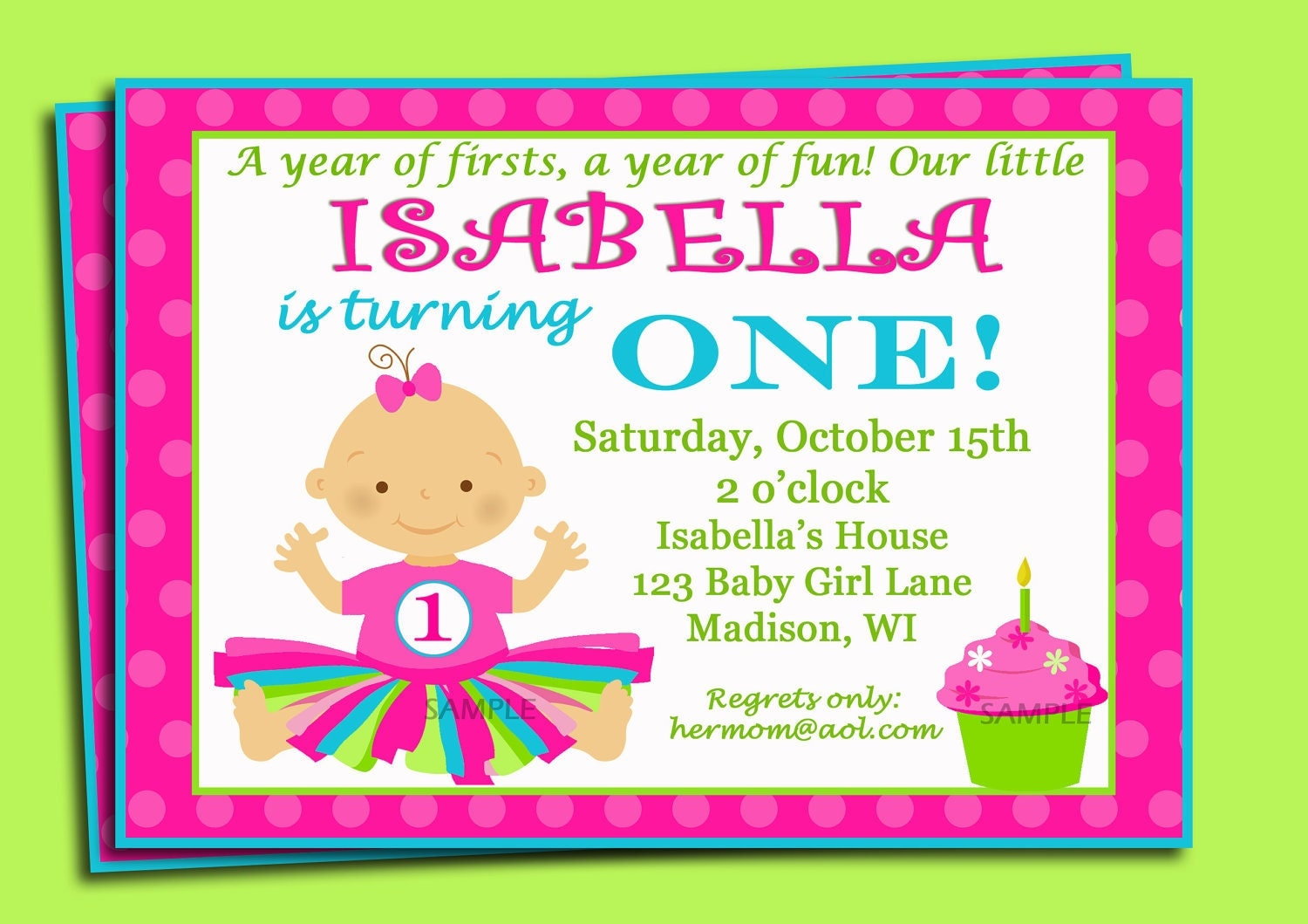 First Birthday Invitation Printable or Printed with FREE