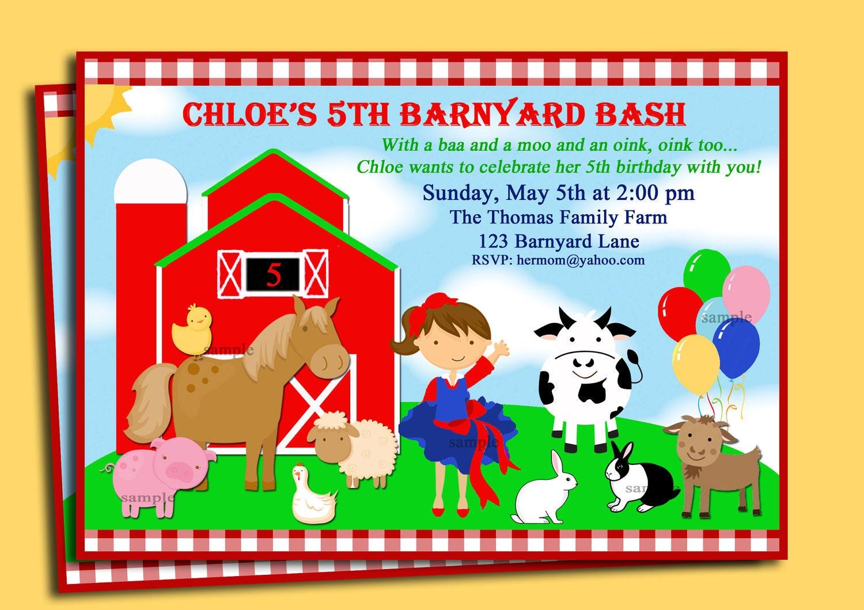 Barnyard Farm Invitation Printable or Printed by ThatPartyChick