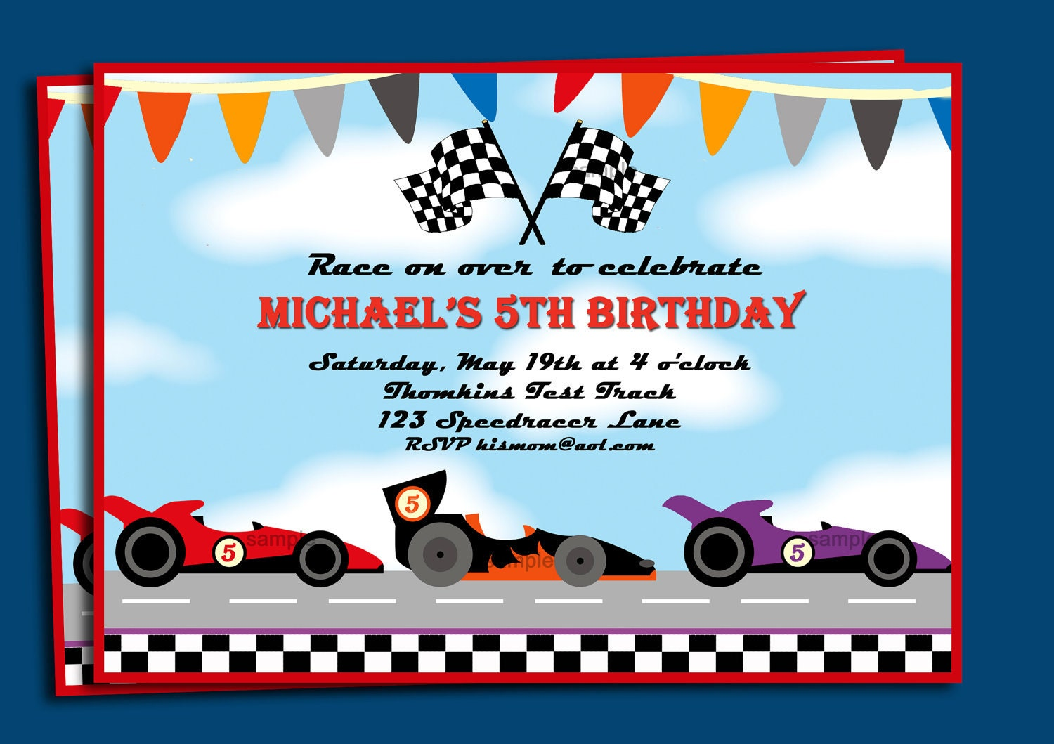 Race Cars Invitation Printable or Printed with FREE SHIPPING – Car Party Invitations