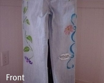 Stenciled Decorated Jeans Brand Seven7 COOL Sz 28 boot cut