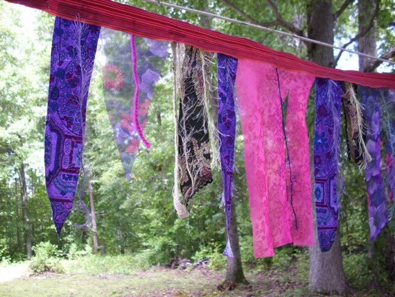 FREE ship-Gypsy Fever Upcycled fabric Bunting flags, swag, garden,color,movement
