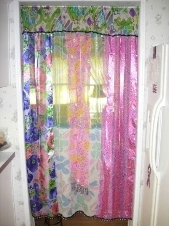 Door or Window curtain Boho Gypsy Hippie Coins Color