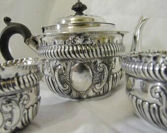 Victorian Repousse Sterling Silver Tea Set / Service / Teapot, Creamer, Sugar