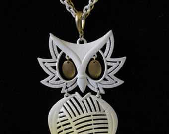 White Enameled ALAN Owl Necklace Original chain