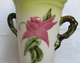 Woodland Hi-Gloss Hull Vase - W18 10 1/2 - Pink and Green