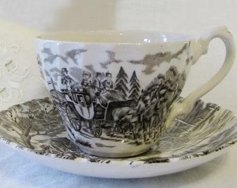 MYOTT Brown Transferware Teacups & Saucers