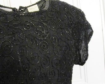 Beaded Little Black Party Dress by Stenay / Size 4