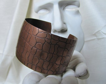 Vintage Solid Copper Embossed Rock Cuff Bracelet