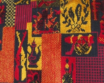 Early American Republic Needlepoint Wool Textile // Large Piece // Red Gold Black