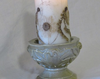 Column Candle Holder // Olive Green Grey Speckled Blue Leaves // Pottery by Brinn's