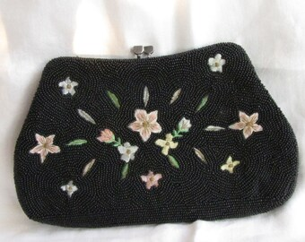 Classic  Black Beaded Petit Point Pink Flowers Clutch //  Handmade Japan for Lintons
