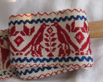 Hand Embroidered Americana Textile // Ribbon // Trim // Red White Blue
