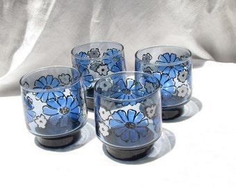 Libby 9 oz Rock Glasses - Blue White flowers - Original Box -  Retro Cool