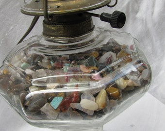 Oil Lamp Converted to Electric // Semi-precious Stones // Earthiness and Sparkle